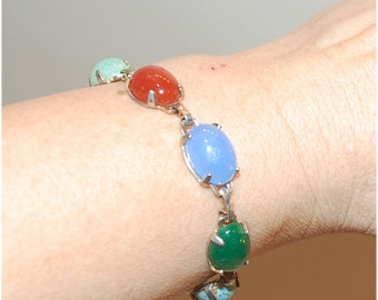 vintage gem stone prong set cabochons bracelet 7 1/4 inches