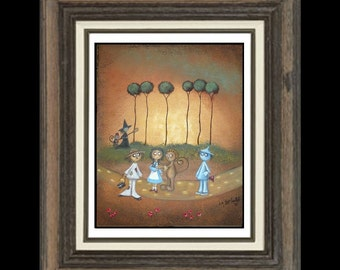 Wizard of Oz Art  Print Giclee - Whimsical Fairytale Art Print -- Surrender Dorothy