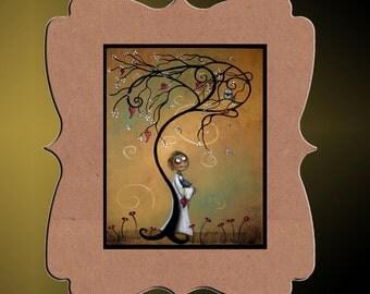Whimsical Creeper Art Print -- Hedgehog - Whimsical Tree - Hearts - Owl --Whichever Way the Wind Blows -- 8x10