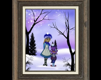 Alice in Wonderland Art Print - Whimsical Digital Painting -  Wonderland Winter