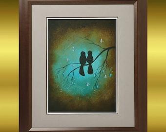 Whimsical Birds and Dragonflies Art Print ---  Lovebirds -  Love -- Valentine
