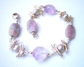 ON SALE Pink Amethyst Bramble Bracelet in Sterling Silver with Dove Gray Pearls and Lepidolite Tile Beads