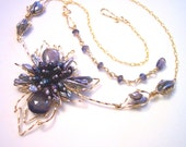 Rhapsody in Shades of Grey and Gold Pearl Necklace with Blue Violet Dichroic Iolite Gemstones
