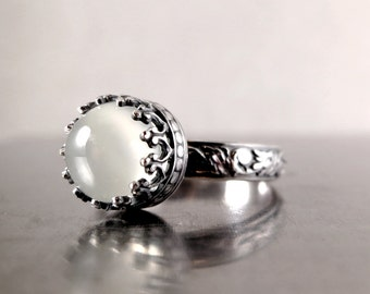 Moonstone Ring, Sterling Silver, white gemstone, Renaissance, Stacking, floral band