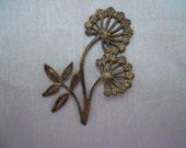 Vintage Oxidized Brass Flower Finding