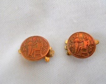 Vintage Brass Clasp 1 Strand Egyptian Pair