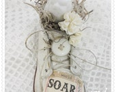 A World to Soar, Altered Art, Mixed Media Vintage Birdie BabyShoe, Hand Created, ECS, CSSTeam