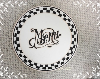 French Menu Sign, Metal Round Tray, Hand Painted, ECS, CSSTeam