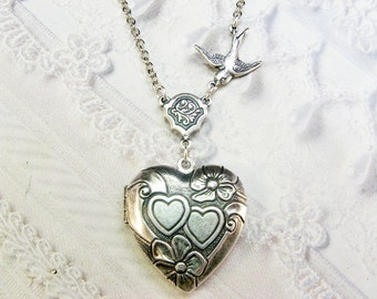 Silver Locket Necklace - Silver Heart Locket - Bird Heart - Valentine's Day Wedding Bridesmaid Birthday