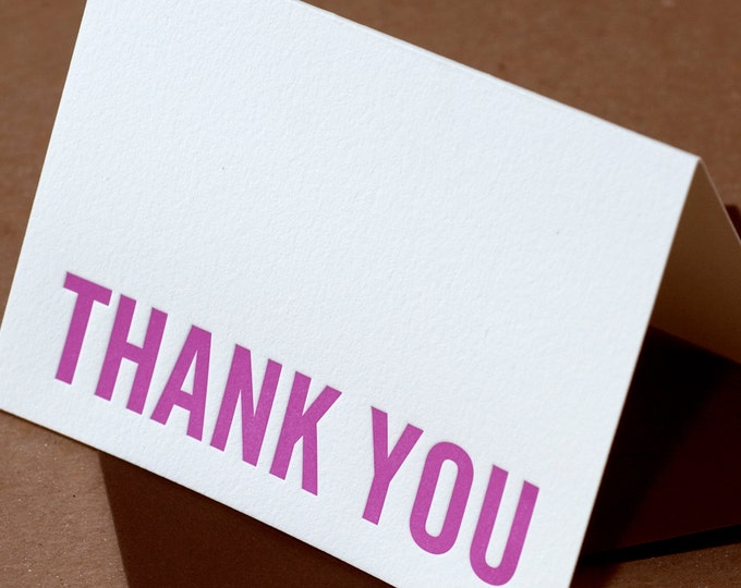 Letterpress Thank You Cards : Fuchsia Modern Block Thank You Notes - box of 50 small folded cards w envelope color choice