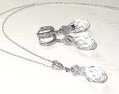 Bridal Bridesmaid Necklace Earrings Set Swarovski Crystal Pendant Cubic Zirconia Silver Wedding Jewelry Bridal Teardrop