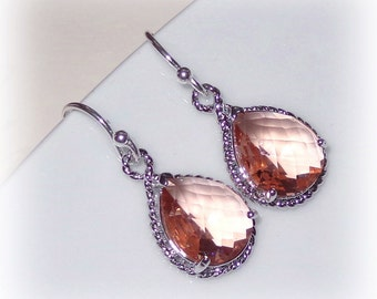 Pink Crystal Teardrop Earrings on Sterling Silver Peach Champagne Bridal Bridesmaid Gift Jewelry