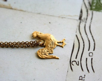 rooster. necklace in gold ox