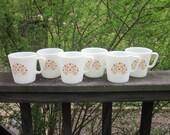 Six Vintage Pyrex Mugs - Summer Impressions