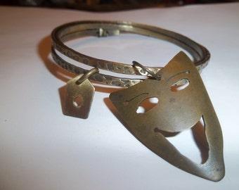 Hyena Totem Brass Wrap Bangle Bracelet