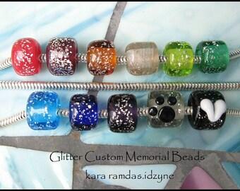 Memorial Glitter Beads Pet Cremains or Fur, or Human Hair Handmade Bead SRA - fits Big Hole Bead Bracelets