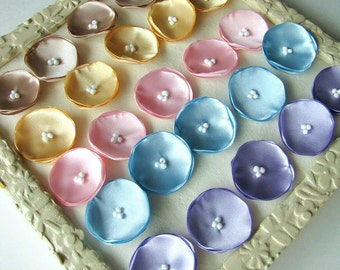 Small fabric flowers, mini flower appliques, tiny satin poppies (25pcs)- SPRING PASTELS (Champagne, Yellow, Baby Pink, Baby Blue, Lavender)