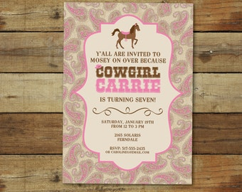 Cowgirl birthday invitation, cowgirl birthday party, pink paisley birthday party, western style birthday party