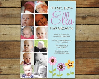 first birthday party invitation and collage for a baby girl - my how she's grown