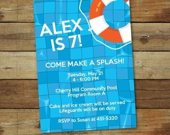 pool party invitation - pool birthday party