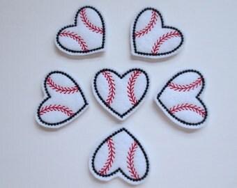 Heart Baseball - Shaped Baseball Felt Embroidered Embellishments - 030