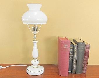 Vintage Lamp, Metal Lamp, Boudoir Lamp, Night Light Lamp, Shabby Cottage Chic Lamp