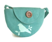 SALE - Semi Circle Shoulder Purse - Bird on Branch - Semi-Circle - Teal Faux Suede - VEGAN