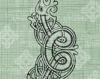 Digital Download Celtic Illumination Letter C, digi stamp, digis, St Patricks Day, Ornate digital collage sheet, Animal Inspired