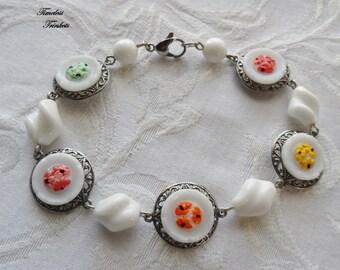 Sale 1/2 Price! Vintage Glass Button Bracelet- Poppies