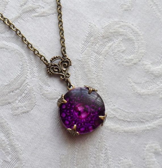 Grape Soda, Vintage Glass Button Necklace