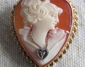 Antique Heart Cameo Brooch with Little Diamond