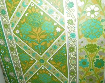Vintage Wallpaper - Shiny Metallic Wallpaper - 1960s 1970s - 1 yard - Flower Power