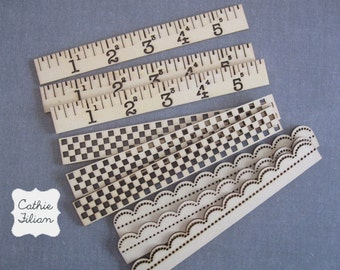 Wood Ruler Borders - 9 pcs - Scrapbooking, Altered Art - Vintage Look - Prima Wood Icons