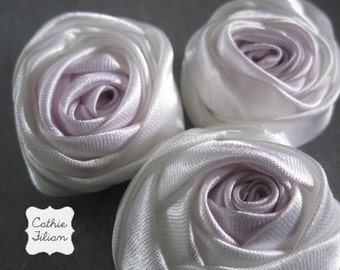 Pastel Purple Fabric Flower - 3 pieces - Rose - Millinery, Altered Couture, Hair Flowers, Pin Listing Stats
