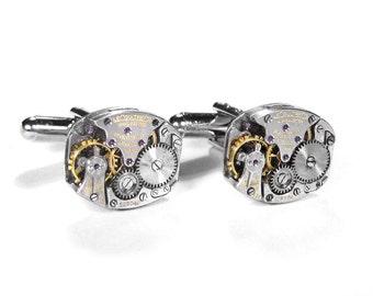 JAEGER LeCOULTRE Cufflinks, Mens Watch Cufflinks LeCoultre Pinstripe Wedding Anniversary Groom Fiancee Cufflinks - Jewelry by edmdesigns