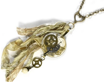 Steampunk Jewelry Necklace Pocket Watch Case Lens Brass HEART Silk Ribbon Gears Dials Watch Parts Holiday Gift Her - Jewelry by edmdesigns
