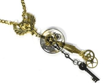 Steampunk Jewelry Necklace Pocket Watch Case Lens GARGOYLE Gear Black Key Watch Parts Necklace Steam Punk Pendant - Jewelry by edmdesigns