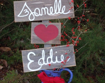 Wedding Shower Sign, Reception Decor, Rustic His Her Name Love heart With A Stake. Reception Party Sign Dinner Ceremony Signs Hand Painted