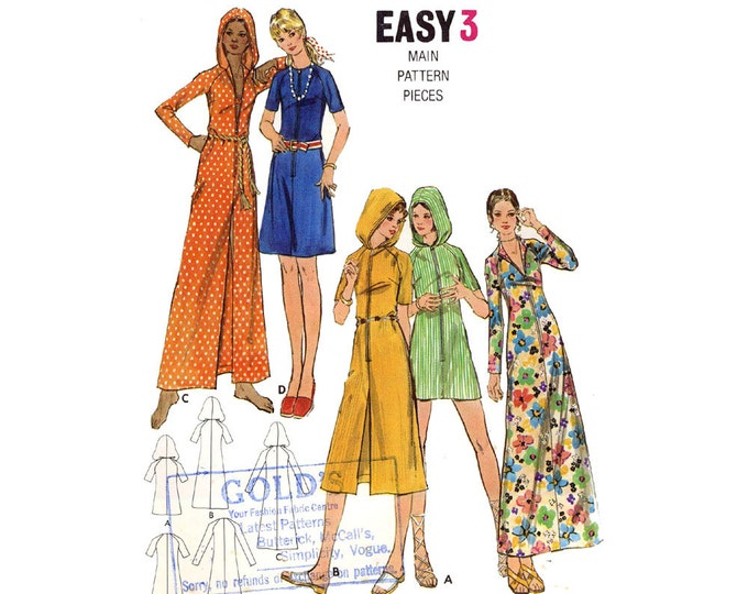 70s Beach hooded or non hooded A line cover up vintage sewing pattern Butterick 6183 Bust 32