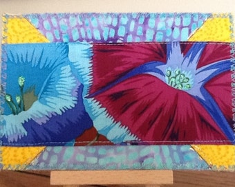 Morning Glory Sparkle Quilted Fabric Postcard