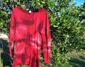 Red Shibori Assymetrical Tunic
