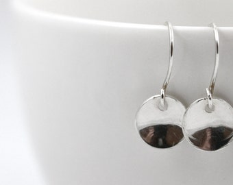 Ready to Ship, Minimal Earrings, Sterling Silver earrings, Disc earrings, Dangle Earrings, Dainty Earrings, Valentines Gift