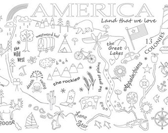 America Embroidery Pattern on Fabric