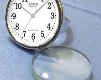 6pcs silver tone circular Adjustable Ring Blank
