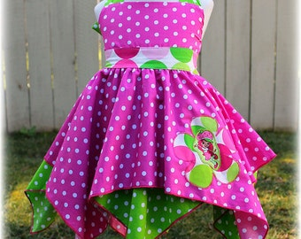 Custom Boutique Clothing Strawberry Shortcake Sorbet Disco Dot 1 Piece Jumper Handkerchief Dress Pink and Lime