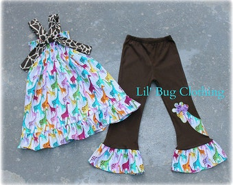 Custom Boutique Girl Cocoa and Lavender Giraffe Zoo Smocked Top And Pant