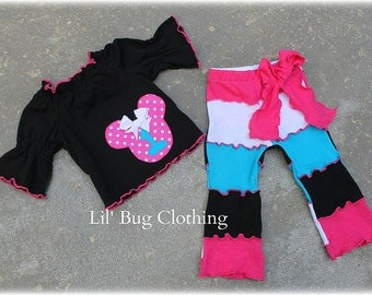 Custom Boutique Girl Personalized Lettuce Edge Minnie Mouse Knit Pant Peasant Top Outfit