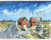 Italian Landscape, Aceo Art Card, Original, Watercolor Painting, ACEO, This is an Original painting and Not a Print