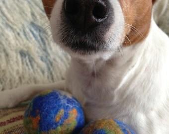70 mm XXL EARTH Playball, a handmade wet felt ball- A Perfect Circle-  Merino Wool