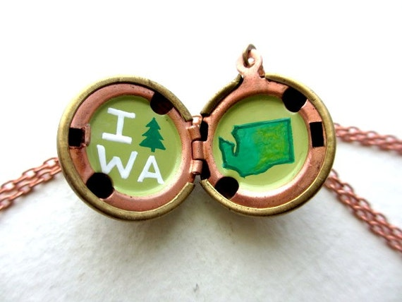 Washington State Locket - Evergreen Love Hand-painted Pendant Necklace in Avocado and Grass Green